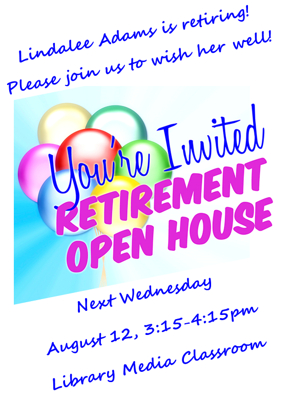 Lindalee Adams retirement party invitation