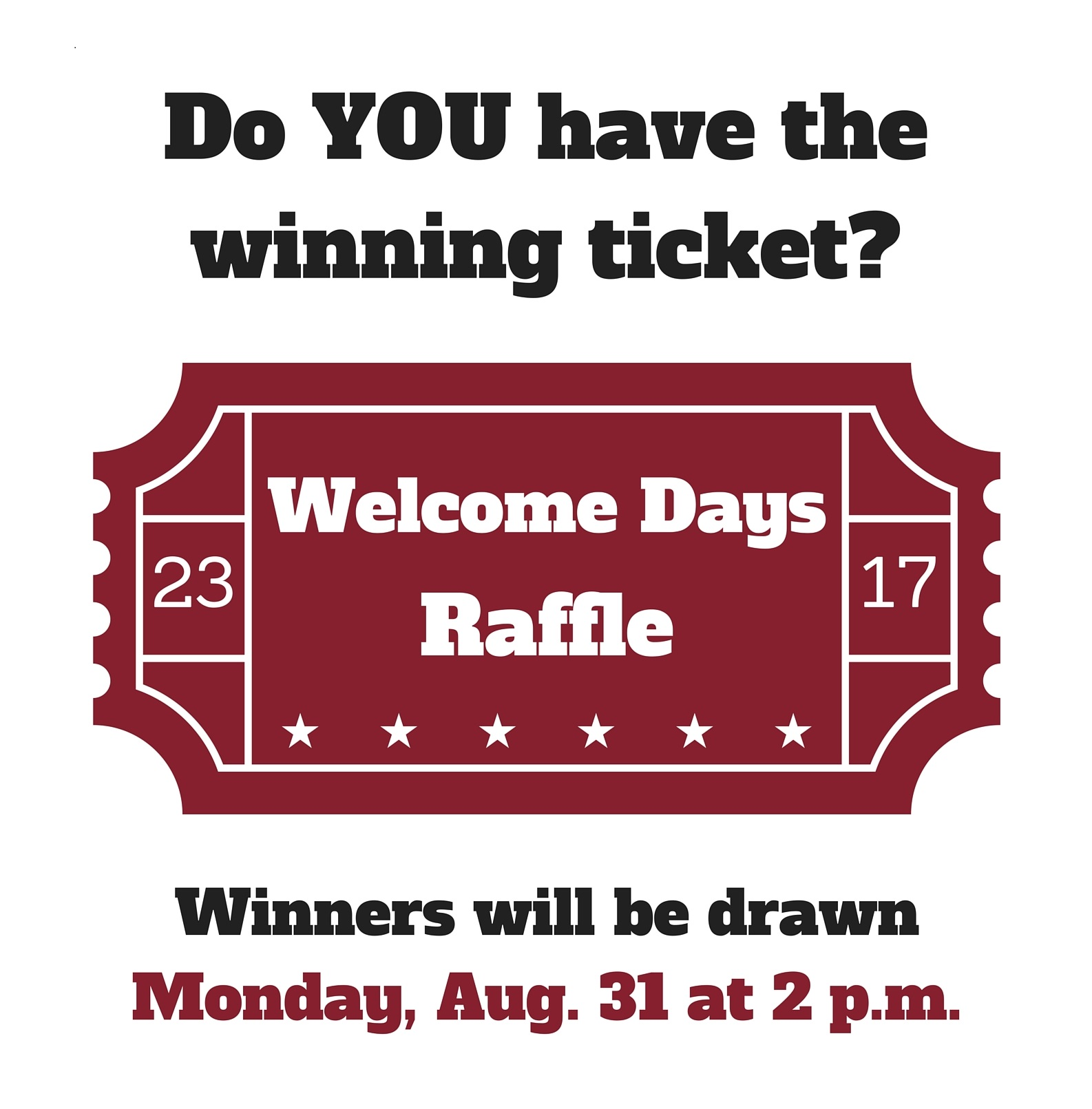 Welcome days raffle drawing