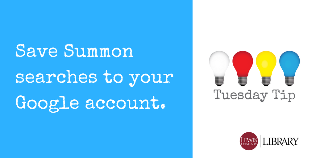 Save Summon searches to Google account