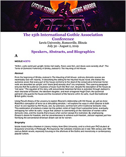 The 15th International Gothic Association Conference A