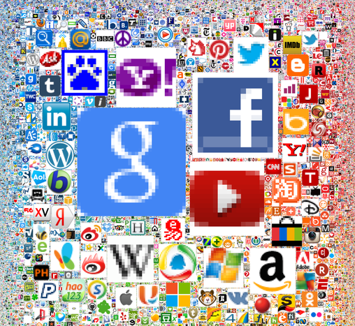 The Most Popular Sites on the Web (as a collage of icons)