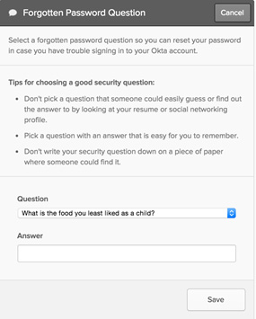 OKTA Forgotten Password Question