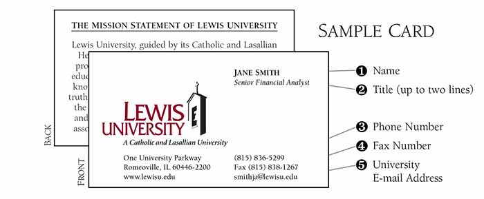 Lewis University Marketing And Communication Business Card Order